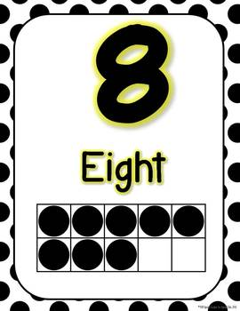 Reversed** Black and White Polka Dot Number Signs 0-20