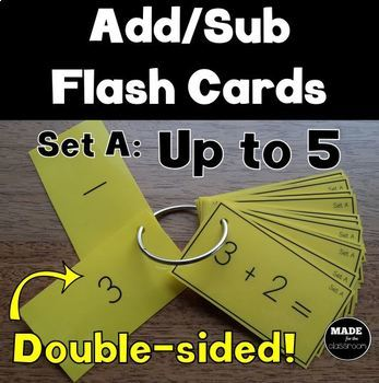 Double-Sided Addition and Subtraction Flash Cards Up to 5
