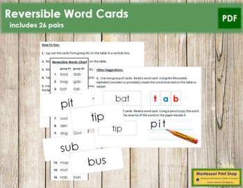 Reversible Word Cards