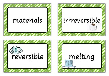 Reversible and Irreversible Changes Word Cards
