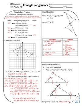 Review #13 Triangle Congruence Geometry CCSS