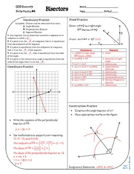 Review #4 Bisectors Geometry CCSS