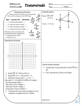 Review #5 Transversals Geometry CCSS