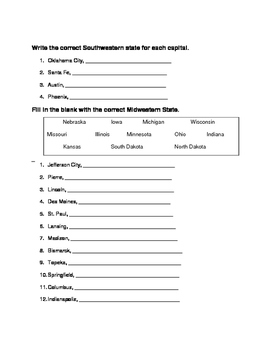 Review 50 States and Capitals