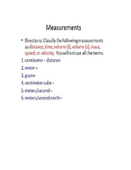 Review Activities: Metric System Units, Speed, Velocity, and Acceleration
