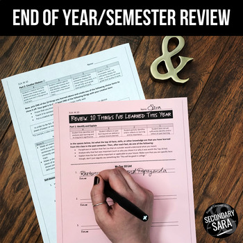 Review Activity: FREE End of Semester Reflection (ELA and Cross-Curricular)