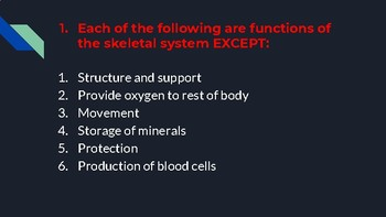 Review Activity For Skeletal, Muscular and Skin Systems