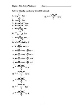 Review Algebra Worksheet (physics chemistry)