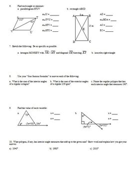 Review: Angles, Equations, Radicals, Interior and Exterior Angles of Polygons