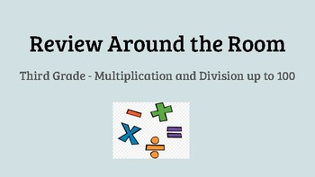 Review Around the Room - 3rd Grade Multiplication and Division up to 100