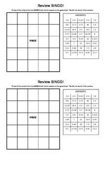 Review Bingo with Decimal Operations