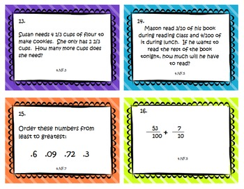 Review Bundle - Fourth Grade Common Core Math Task Cards