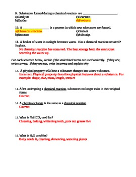 Review Chemical Reactions Worksheet Quiz