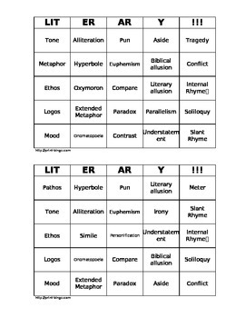 Literary Terms and Rhetorical Devices Matching Quiz and Bingo
