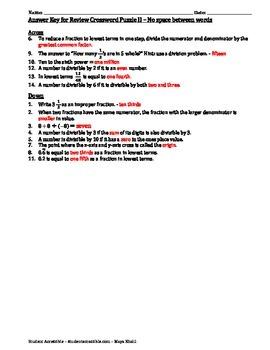 Review Crossword Puzzle II