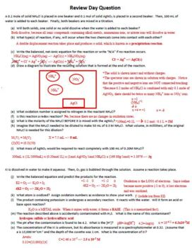Review Day Question Sheet for Aqueous Solutions in AP Chemistry