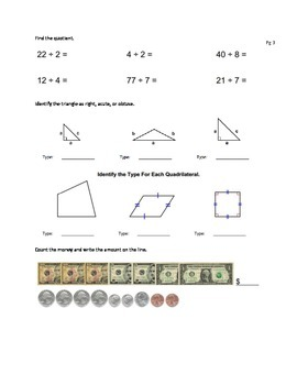 Review: Division,multiplication,fact families,triangles,quadrilaterals,angles,