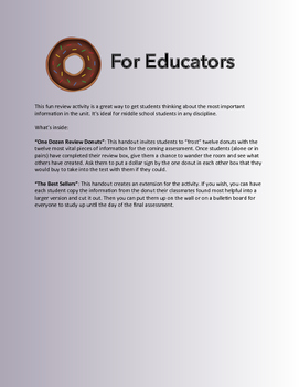 Review Donuts: An Engaging Review Activity, All Disciplines, 6-8
