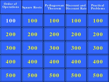 Review Eighth Grade Jeopardy