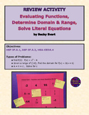 Review: Evaluate Functions, Find Domain & Range, Solve Lit