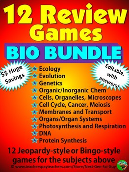 Review Game Bundle: 12 Review Games for Biology/Life Science