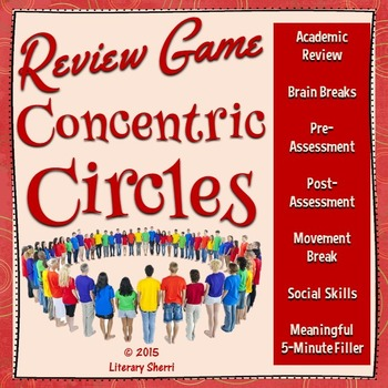 Review Game: Concentric Circles for Middle School (Grades 5, 6, 7, 8, 9)