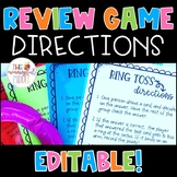 Review Game Directions *EDITABLE* for Target Inflatable Games