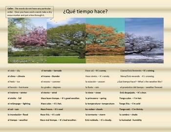Review Game - El tiempo - Weather - Que tiempo hace? - las estaciones - Spanish