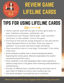 Review Game Lifeline Cards (Hunger Games-style) - Works with any subject!