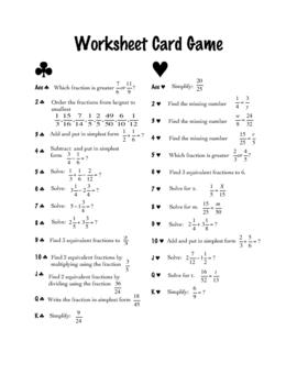 Review Game [Math]: Worksheet Card Game