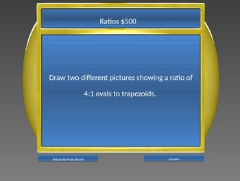 Review Game: Ratios, Proportions, Unit Rates & Vocabulary