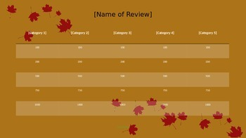 Review Game Template - Thanksgiving