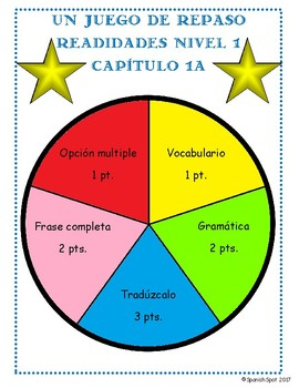 Review Game! based on Realidades 1, Capítulo 1A  Spinning Wheel & Task Cards