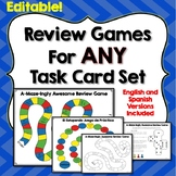 Task Cards Review Games for ANY Set, Editable, English and Spanish Versions