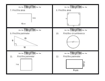 Review Game for Geometry Formulas