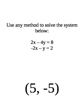 Review Game for Solving Systems of Equations