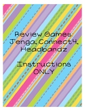 Headbandz, Jenga, Connect 4 Review Games: Instructions Only