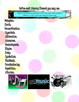 Review Literary Elements using MUSIC