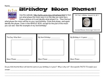 Review Moon Phases using your Birthday!  Computers needed