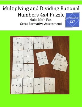 Review Multiplying and Dividing Rational Numbers:  4 x 4 Puzzle