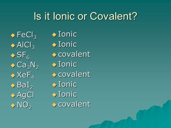 Review Naming and Writing Formulas for Ionic and Covalent Compounds