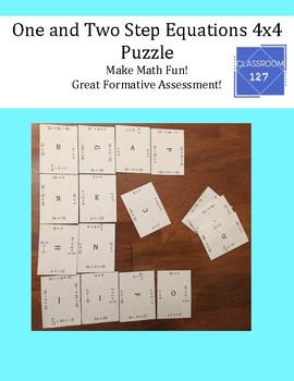 Review One and Two Step Equations: 4 x 4 Puzzle