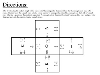 Review Operations and Fractions:  4 x 4 Puzzle