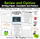 Review & Opinion Writing Checklists, Posters, and Paper Choices