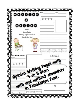 Review & Opinion Writing Checklists, Posters, and Paper Choices-FOUNDATION FONT