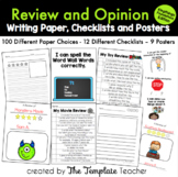 Review & Opinion Writing Checklists, Posters, and Paper Choices- FOUNDATION FONT