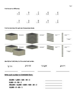 Review Packet: Place Value,  Number Form, Money, Rounding, Subtracting, Adding