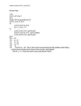 Review Packet 2:  Ratios and Solving One and Two Step Equations