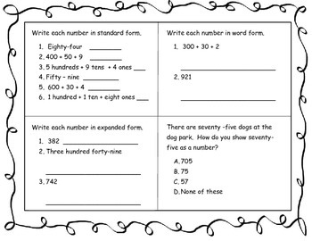 Review Packet for 2nd grade
