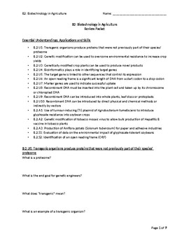 Review Packet for Biotechnology in Agriculture